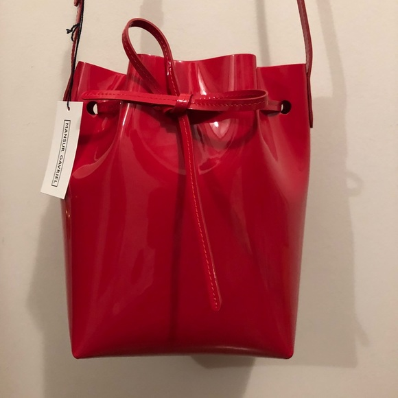 Mansur Gavriel Bucket Bag Red Patent Leather